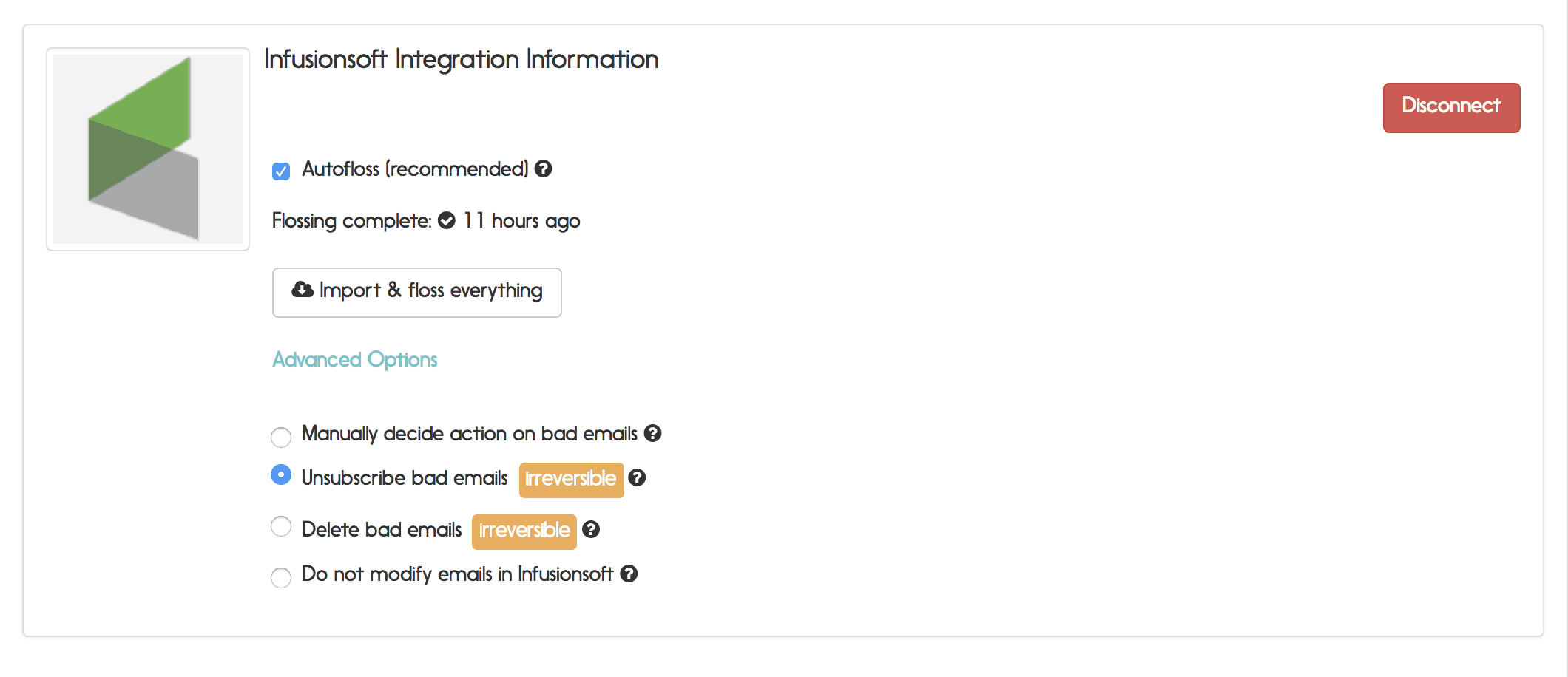 infusionsoft email verification options