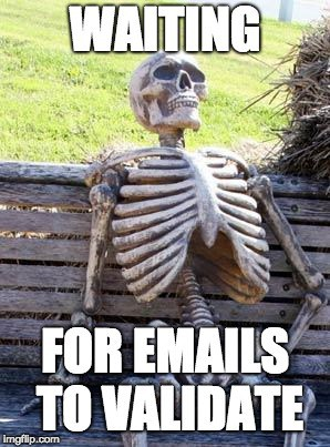 Skeleton - waiting for emails to validate