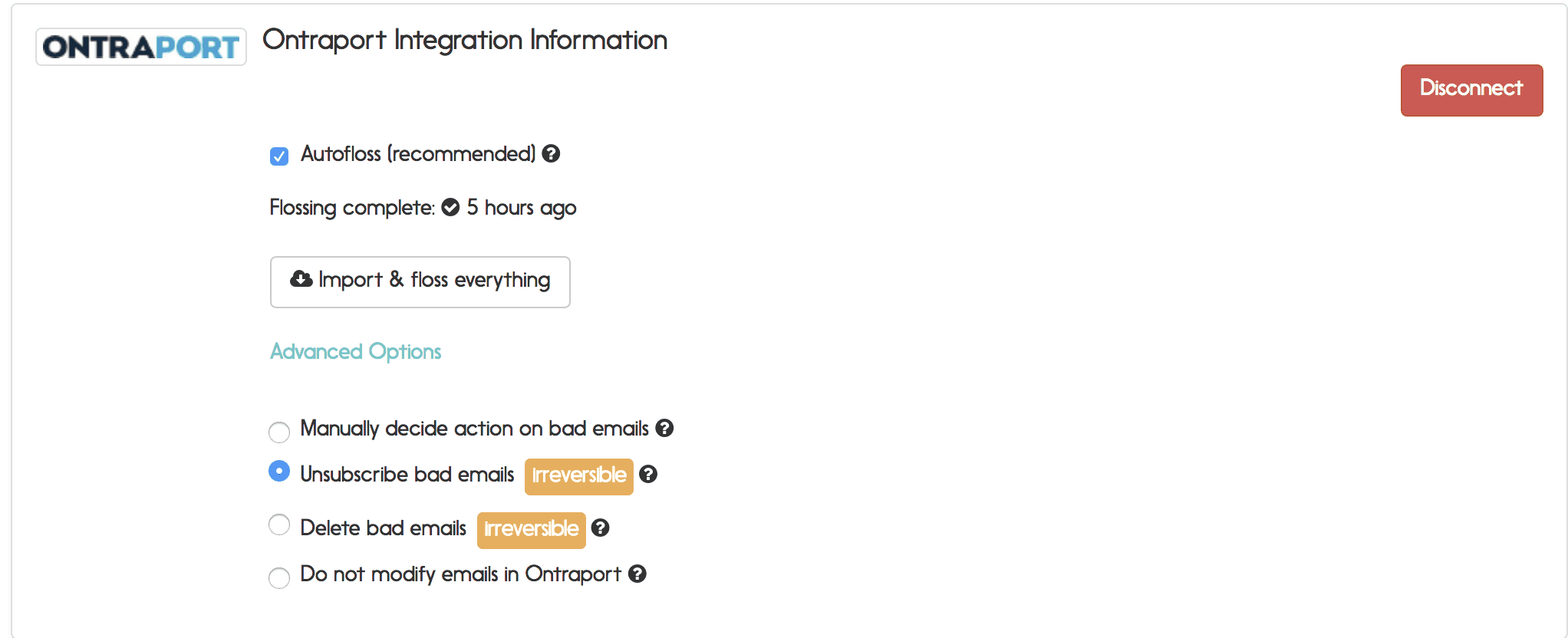 Ontraport email verification options